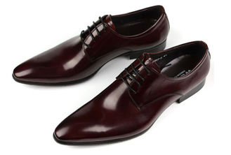 Oxford Style Mens Leather Dress Shoes Dark Red / Black Lace Up Dress Shoes
